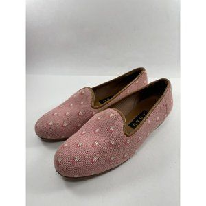 Zalo   Pink Embroidered Fabric Slip On Loafers 6.5